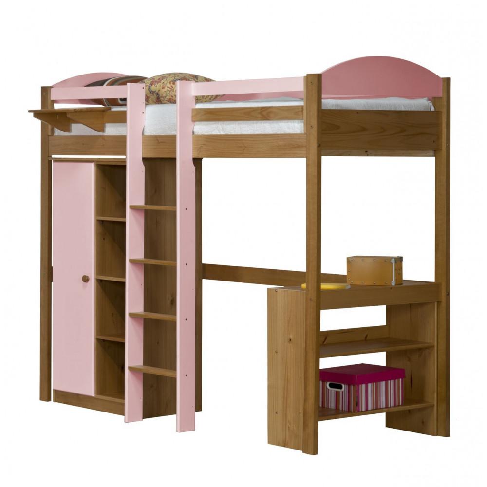 lit mezzanine et rangements 90x190 200 pin massif miel antique 11 coloris. Black Bedroom Furniture Sets. Home Design Ideas
