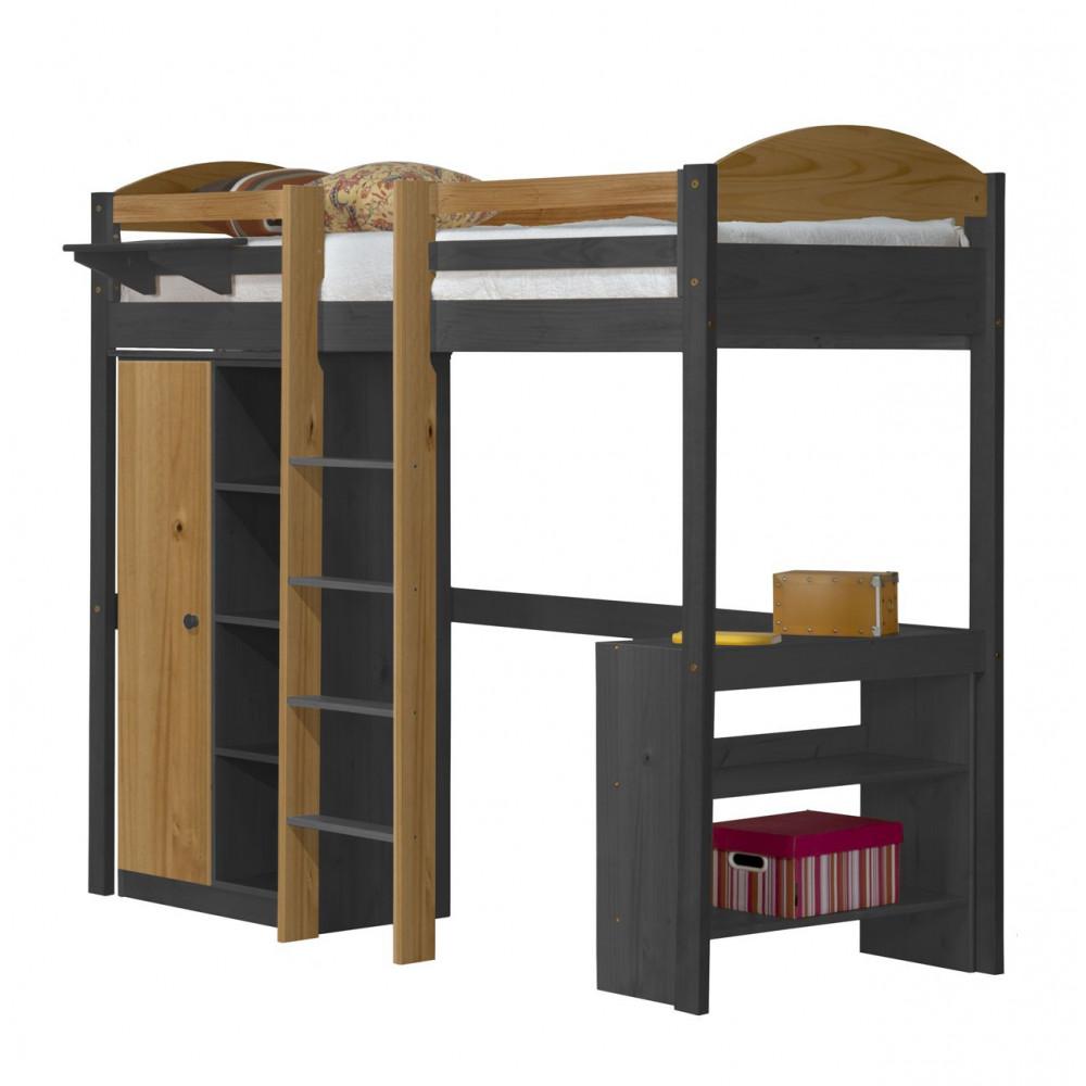 lit mezzanine et rangements 90x190 200 pin massif miel. Black Bedroom Furniture Sets. Home Design Ideas