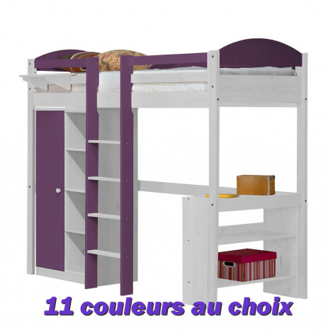 lit mezzanine et rangements 90x190 200 pin massif blanc 11 coloris. Black Bedroom Furniture Sets. Home Design Ideas