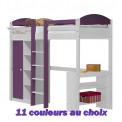 Lit Mezzanine meuble intégré 90x190/200 Pin massif Blanc +11 coloris
