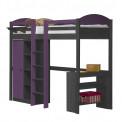 Lit Mezzanine meuble intégré 90x190/200 Pin massif Graphite +11 coloris
