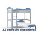 Lit superposés  90x190/200 Pin massif Blanc +11 coloris