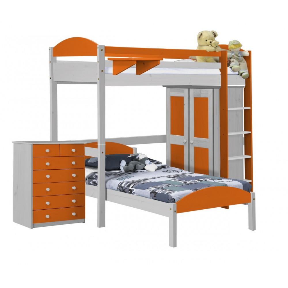 lit superpos s et armoire 90x190 200 pin massif blanc 11. Black Bedroom Furniture Sets. Home Design Ideas