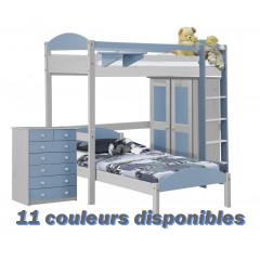Lit superposés  et armoire  Pin massif Blanc +11 coloris