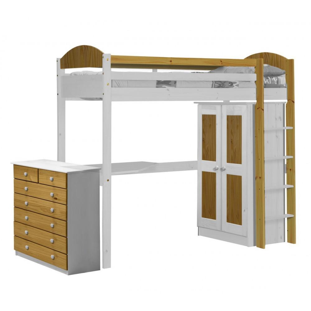 lit superpos s et armoire 90x190 200 pin massif blanc 11 coloris. Black Bedroom Furniture Sets. Home Design Ideas