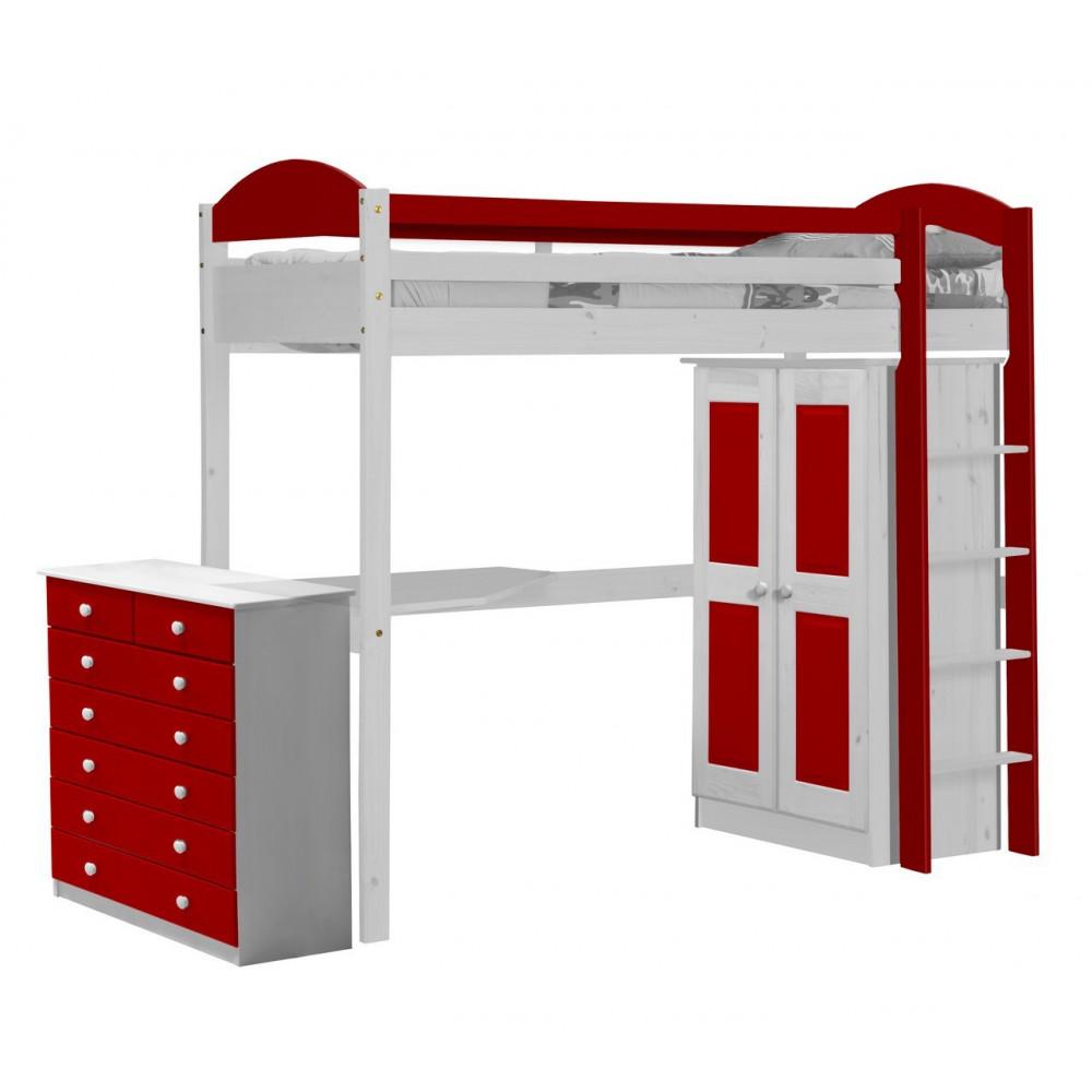 Lit superpos s et armoire 90x190 200 pin massif blanc 11 for Meuble mezzanine