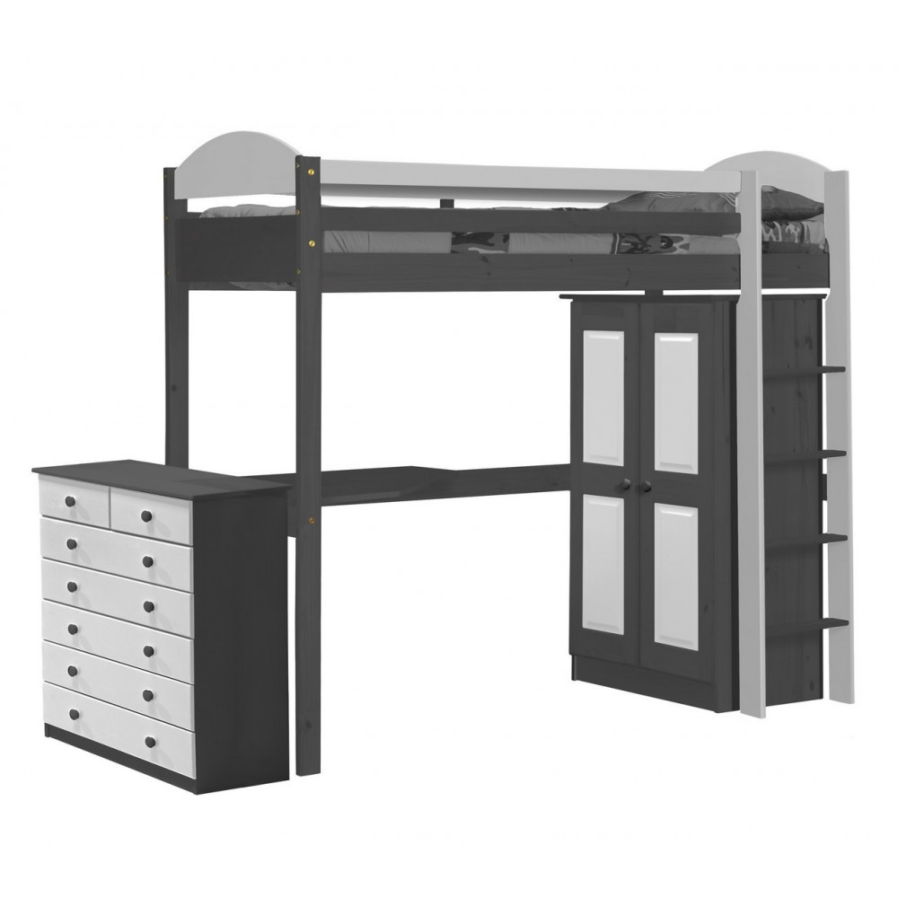 lit mezzanine meubl 90x190 pin massif graphite 11 coloris. Black Bedroom Furniture Sets. Home Design Ideas