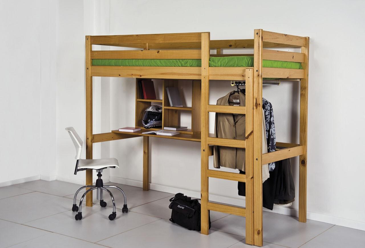 lit m zzanine et meubles int gr s 90x190 90x200 pin massif miel antique. Black Bedroom Furniture Sets. Home Design Ideas