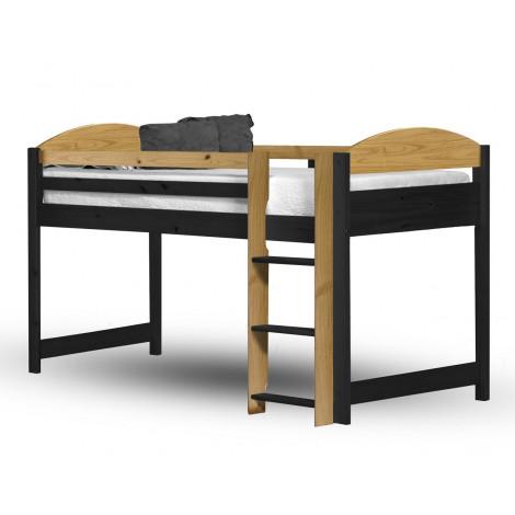 lit Mezzanine et meubles intégrés  90x190/200 Pin massif Miel antique