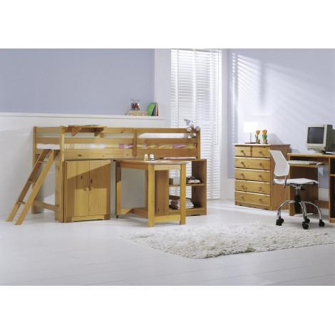 Lit cabine mi-haut option armoire bureau rangements