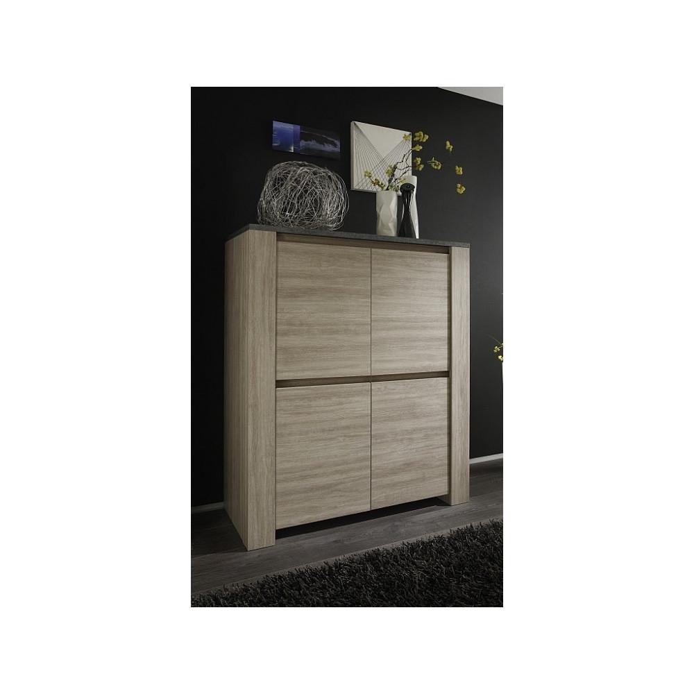 bahut haut moderne ch ne clair 4 portes 120 cm. Black Bedroom Furniture Sets. Home Design Ideas