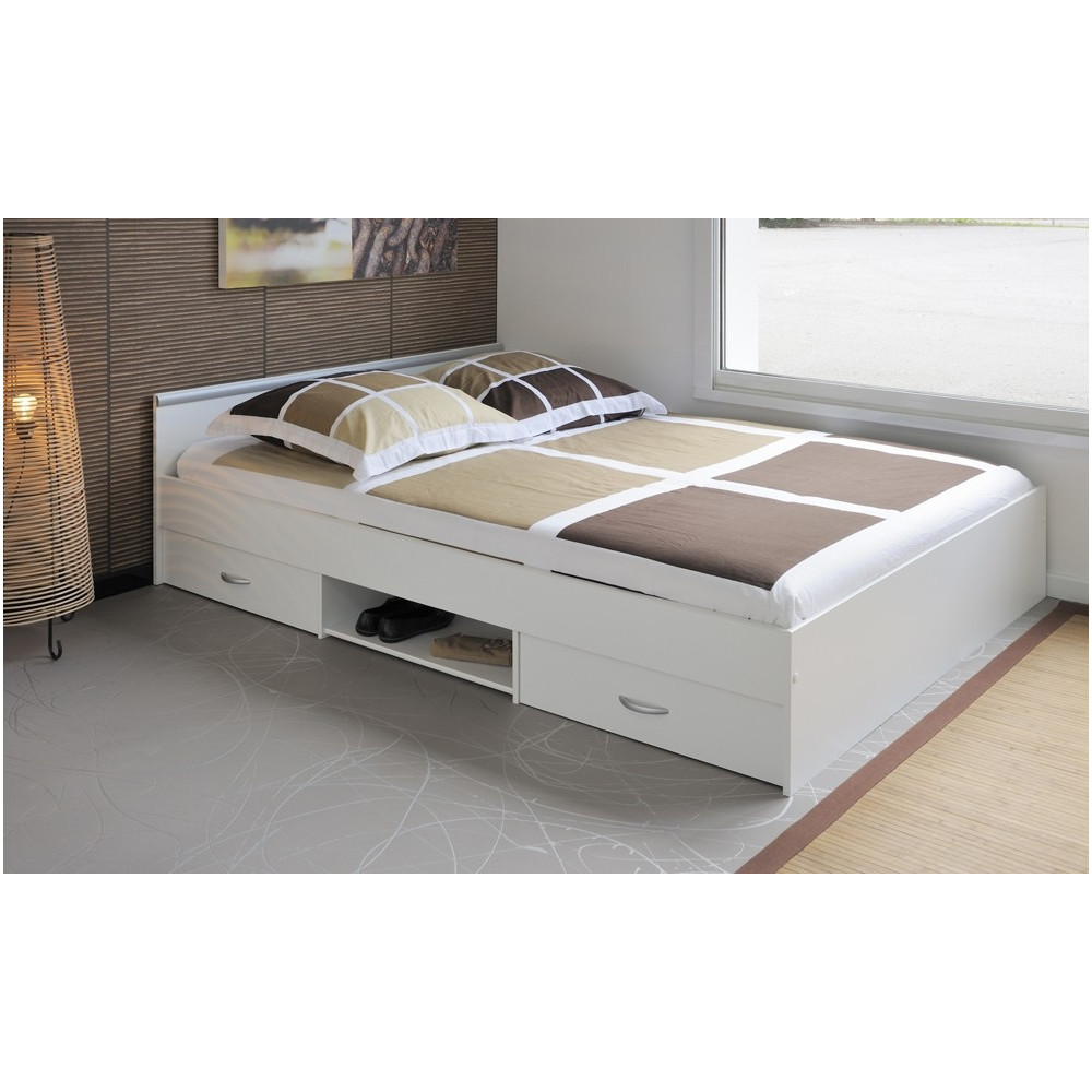 lit meuble blanc 140x200. Black Bedroom Furniture Sets. Home Design Ideas