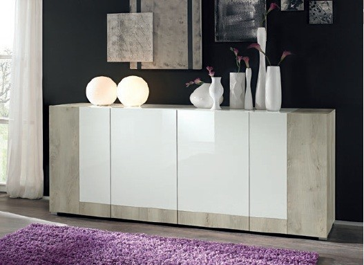 Bahut bas moderne en enfilade 4 portes bicolore 210 cm for Table 6 laille