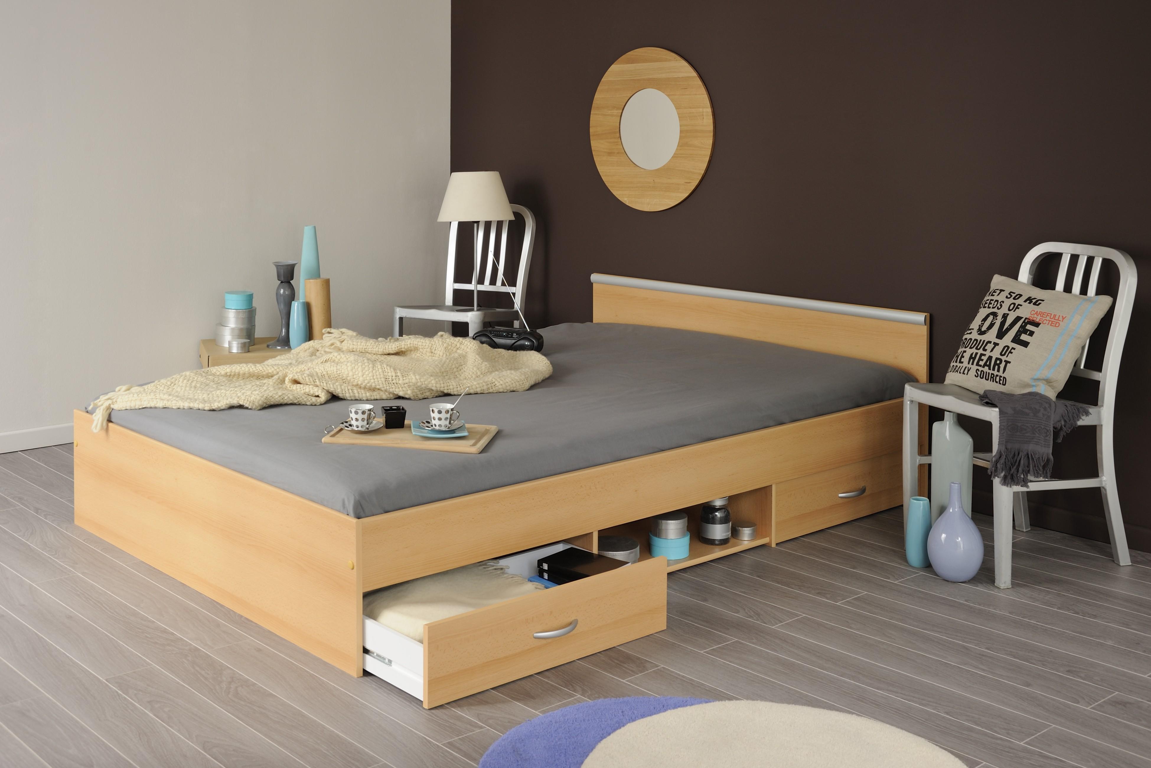 Lit meuble 2 tiroirs 140x200 d cor decor h tre for Meuble bureau hetre