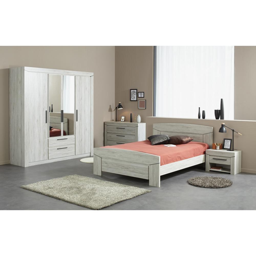 Lit adulte moderne gris de qualit prix exceptionnel 140x190 for Acheter chambre adulte complete