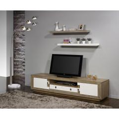 Meuble TV PUZZLE 2 Portes 1 Tiroir Chêne massif Blanc et chêne