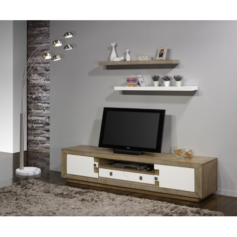 meuble tv puzzle 2portes 1 tiroir ch ne massif blanc et ch ne. Black Bedroom Furniture Sets. Home Design Ideas