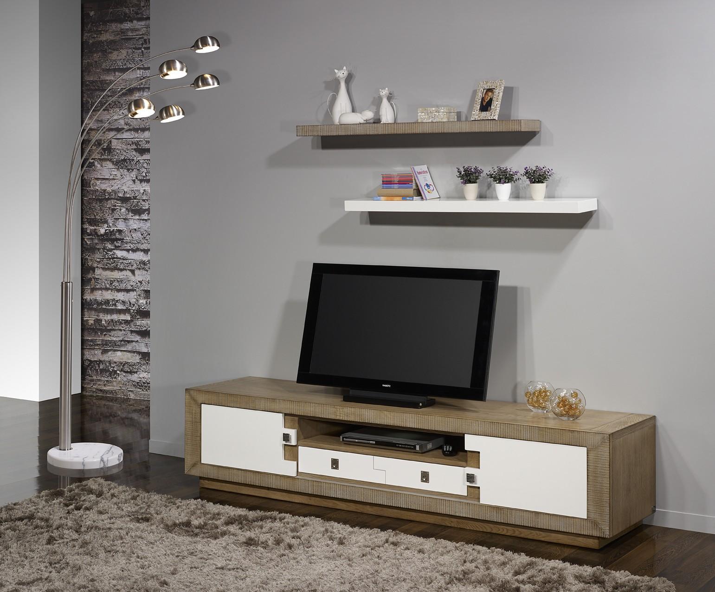 Meuble tv puzzle 2portes 1 tiroir ch ne massif blanc et ch ne for Meuble tv blanc tiroir