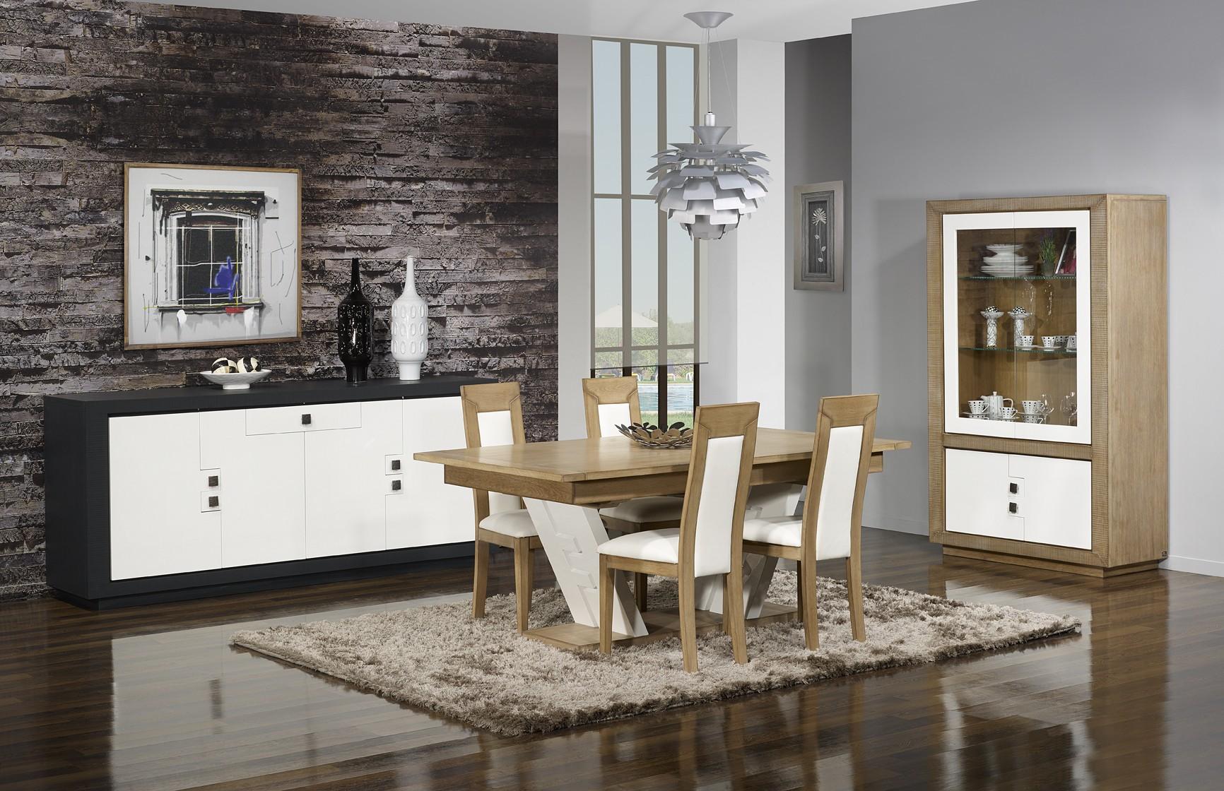 Table puzzle ch ne massif blanc et ch ne 180 280 cm - Meubles salle a manger chene massif ...