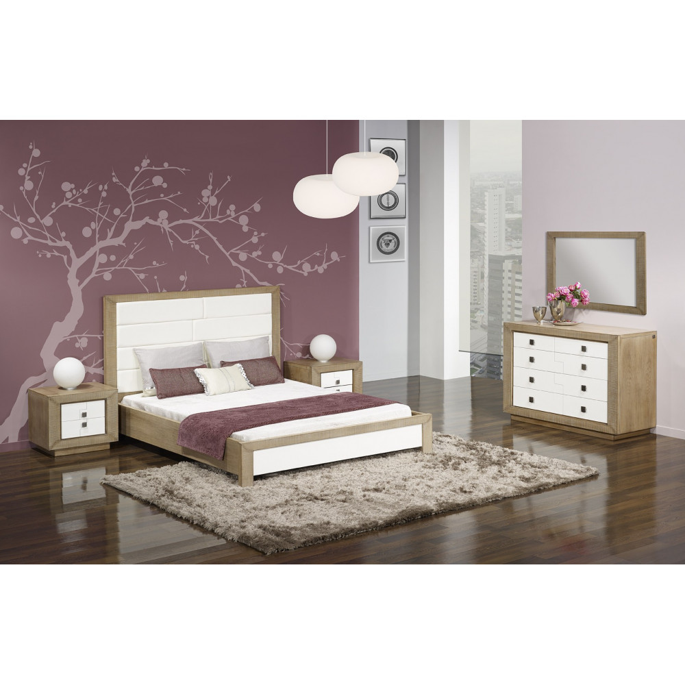 lit puzzle ch ne massif blanc et ch ne 180 280 cm ch ne massif. Black Bedroom Furniture Sets. Home Design Ideas
