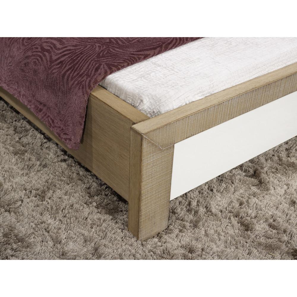 lit puzzle ch ne massif blanc et ch ne 180 280 cm ch ne massif. Black Bedroom Furniture Sets. Home Design Ideas