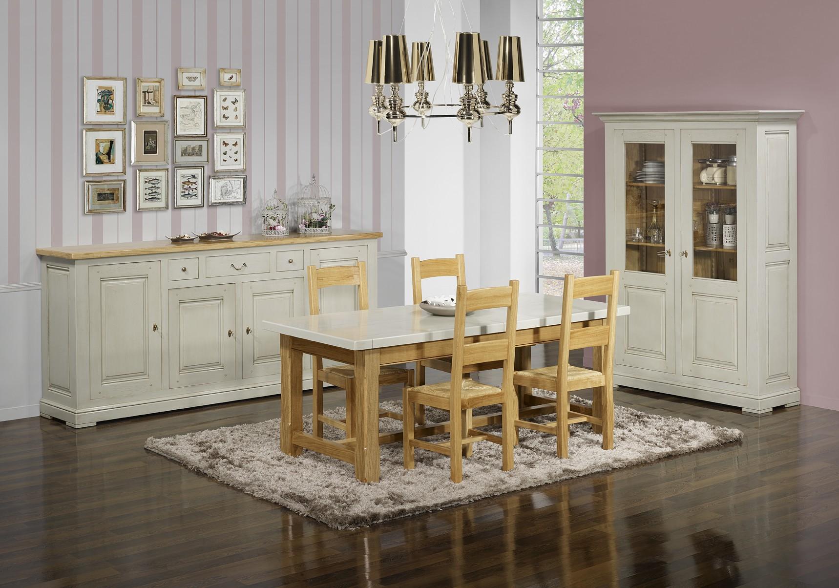 Salle manger ch ne massif blanc et ch ne 180 280 cm for Salle a manger meubles