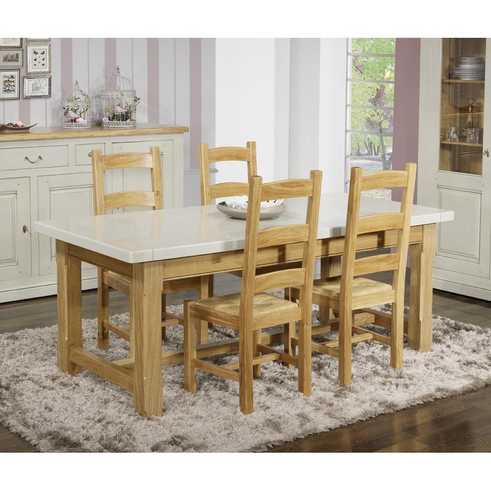 salle manger ch ne massif blanc et ch ne 180 280 cm. Black Bedroom Furniture Sets. Home Design Ideas
