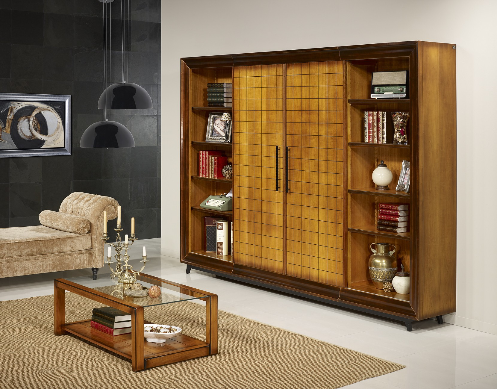 bahut bibliotheque ch ne massif prestige 180 280 cm. Black Bedroom Furniture Sets. Home Design Ideas