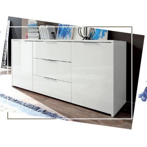 bahut bas moderne en enfilade 2 portes 3 tiroirs blanc 160 cm. Black Bedroom Furniture Sets. Home Design Ideas