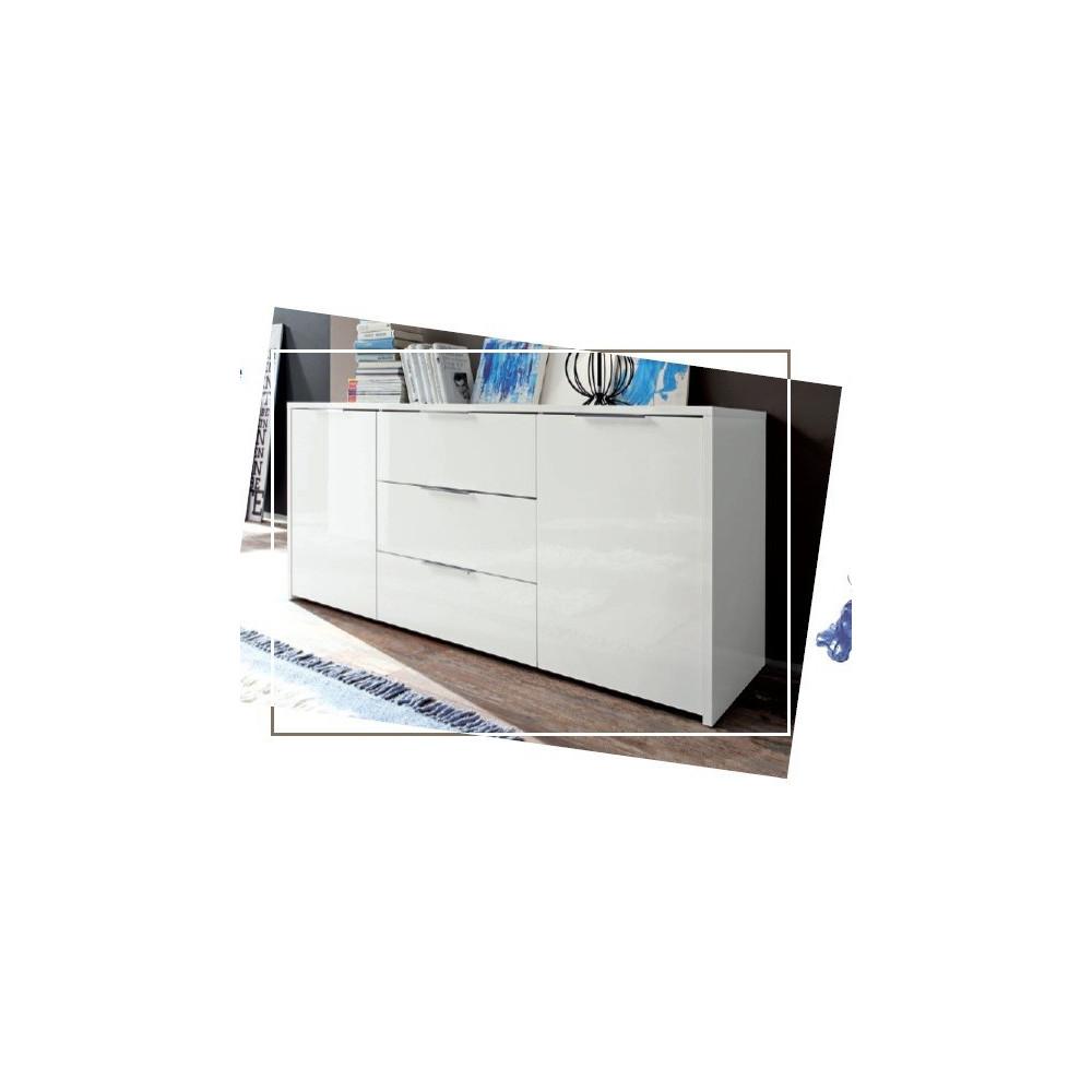 Bahut bas moderne en enfilade 2 portes 3 tiroirs blanc 160 cm - Bahut bas blanc laque ...