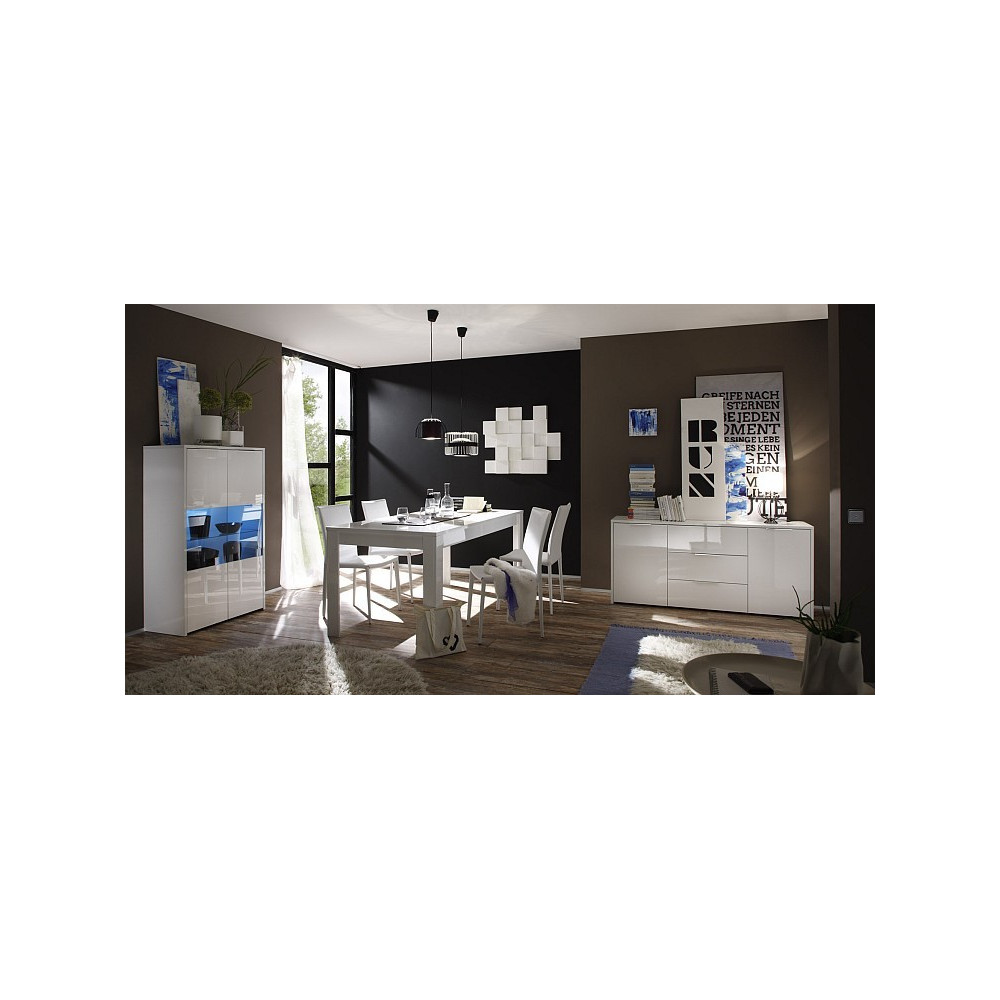 bahut bas moderne en enfilade 2 portes 3 tiroirs blanc 160 cm. Black Bedroom Furniture Sets. Home Design Ideas