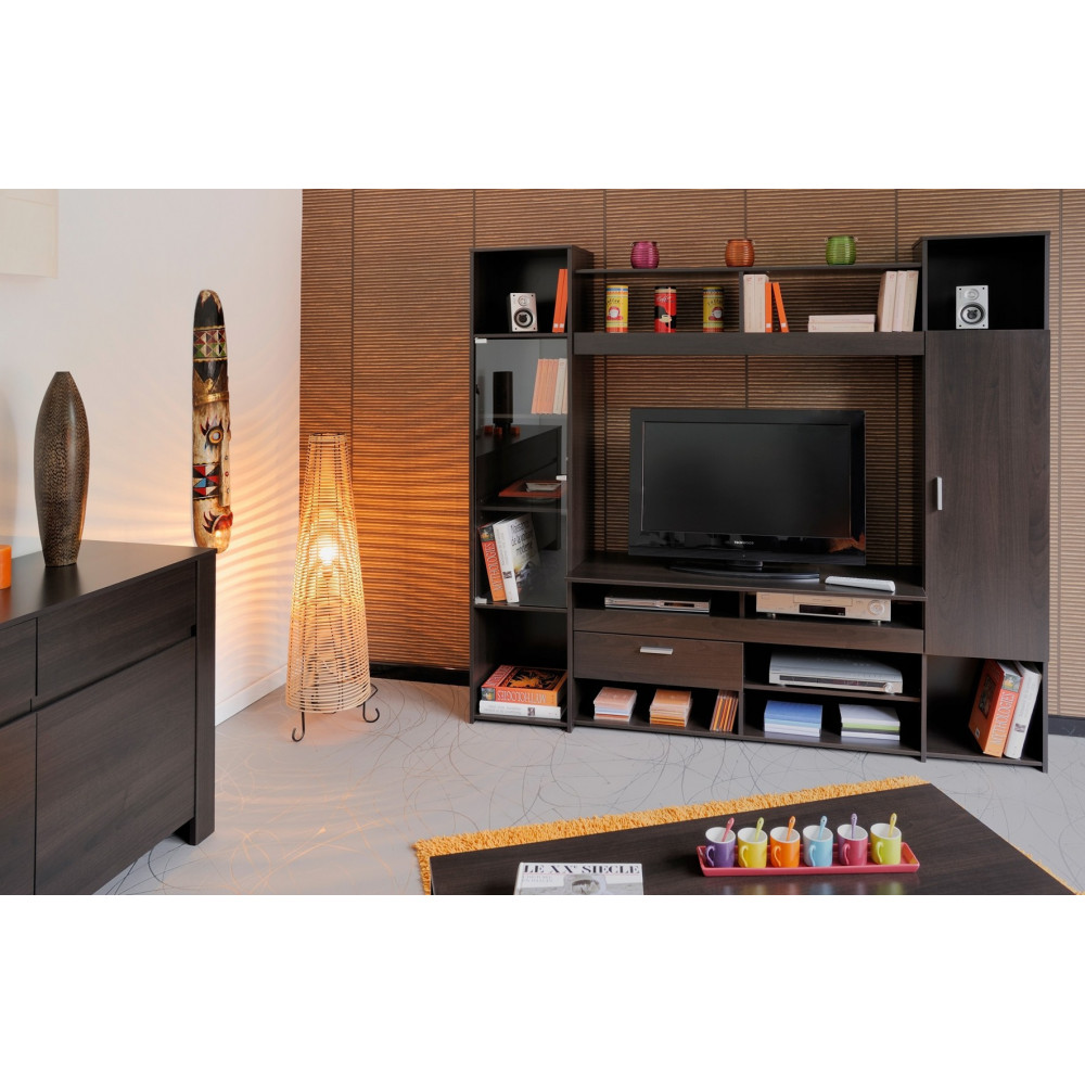 meuble tv soline teinte caf prix discount. Black Bedroom Furniture Sets. Home Design Ideas