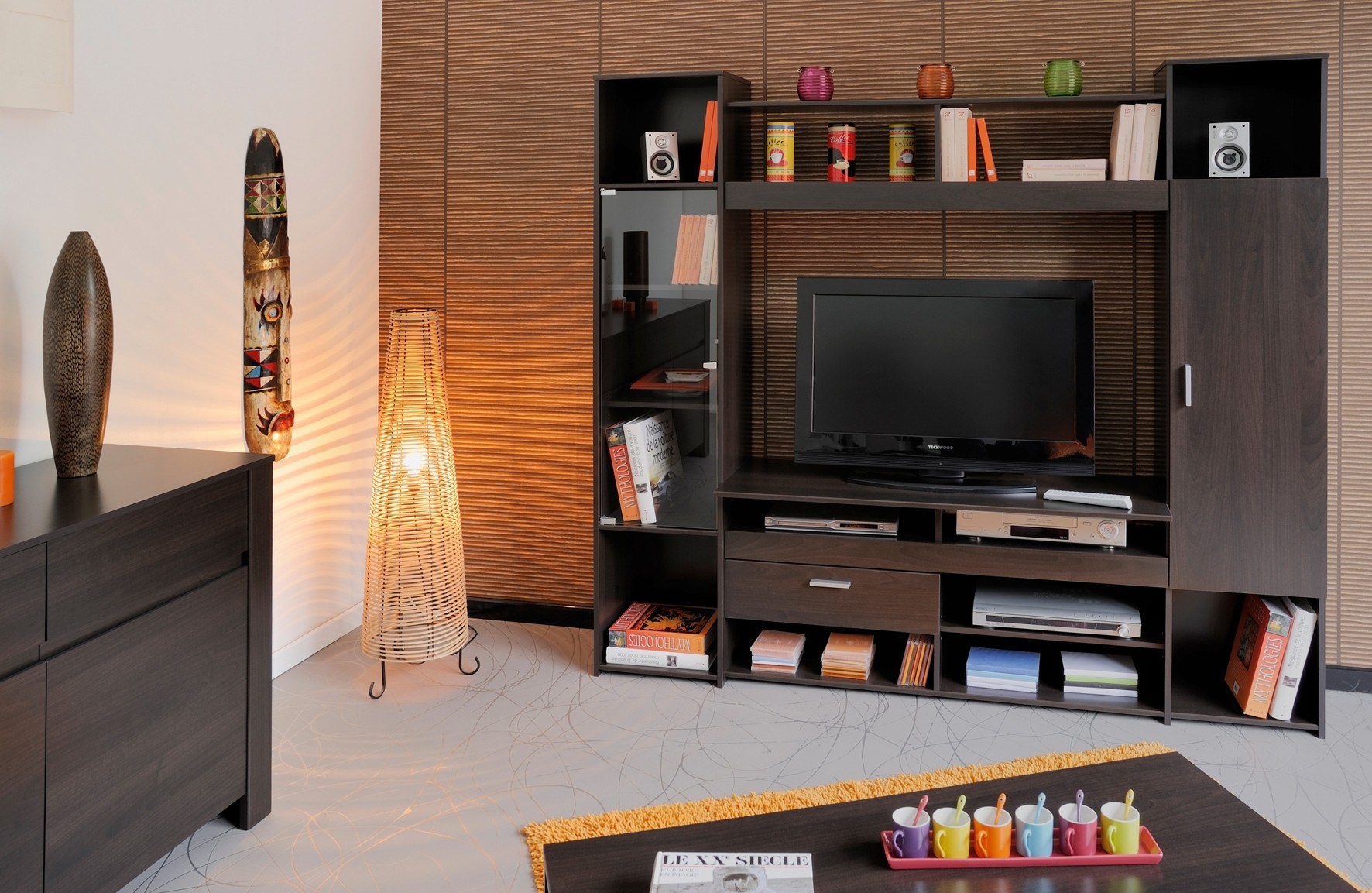 Meuble Tv Soline Teinte Caf Prix Discount # Ensemble Mural Meuble Tv