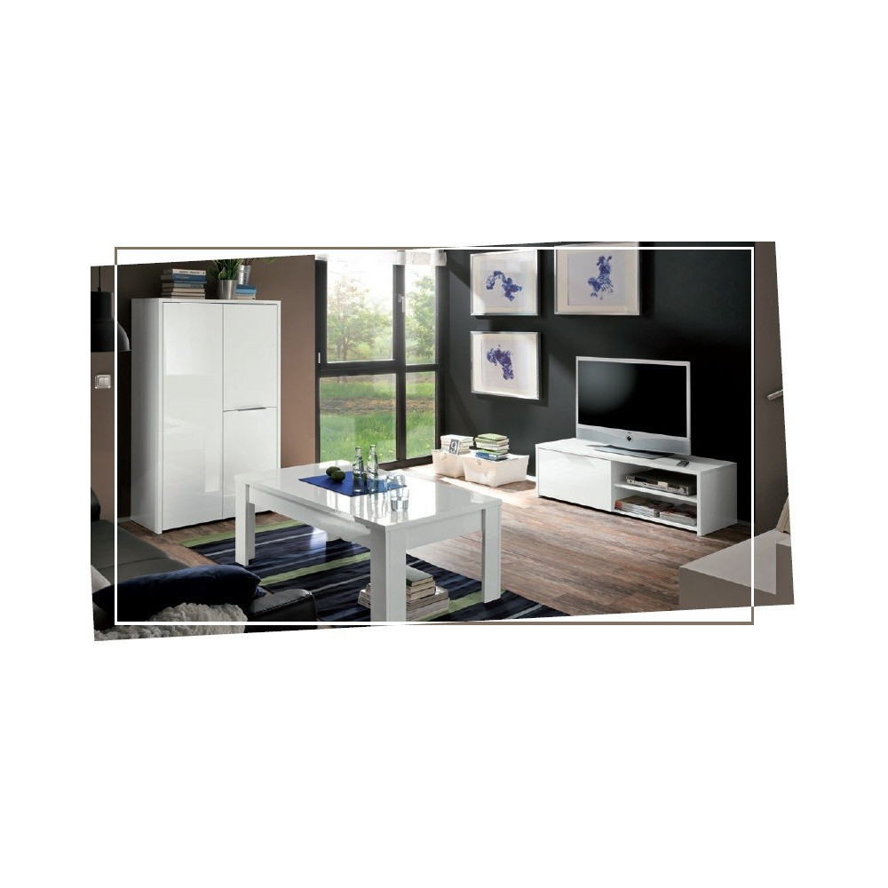 bahut haut moderne blanc 3 portes 80 cm fabriqu en italie. Black Bedroom Furniture Sets. Home Design Ideas