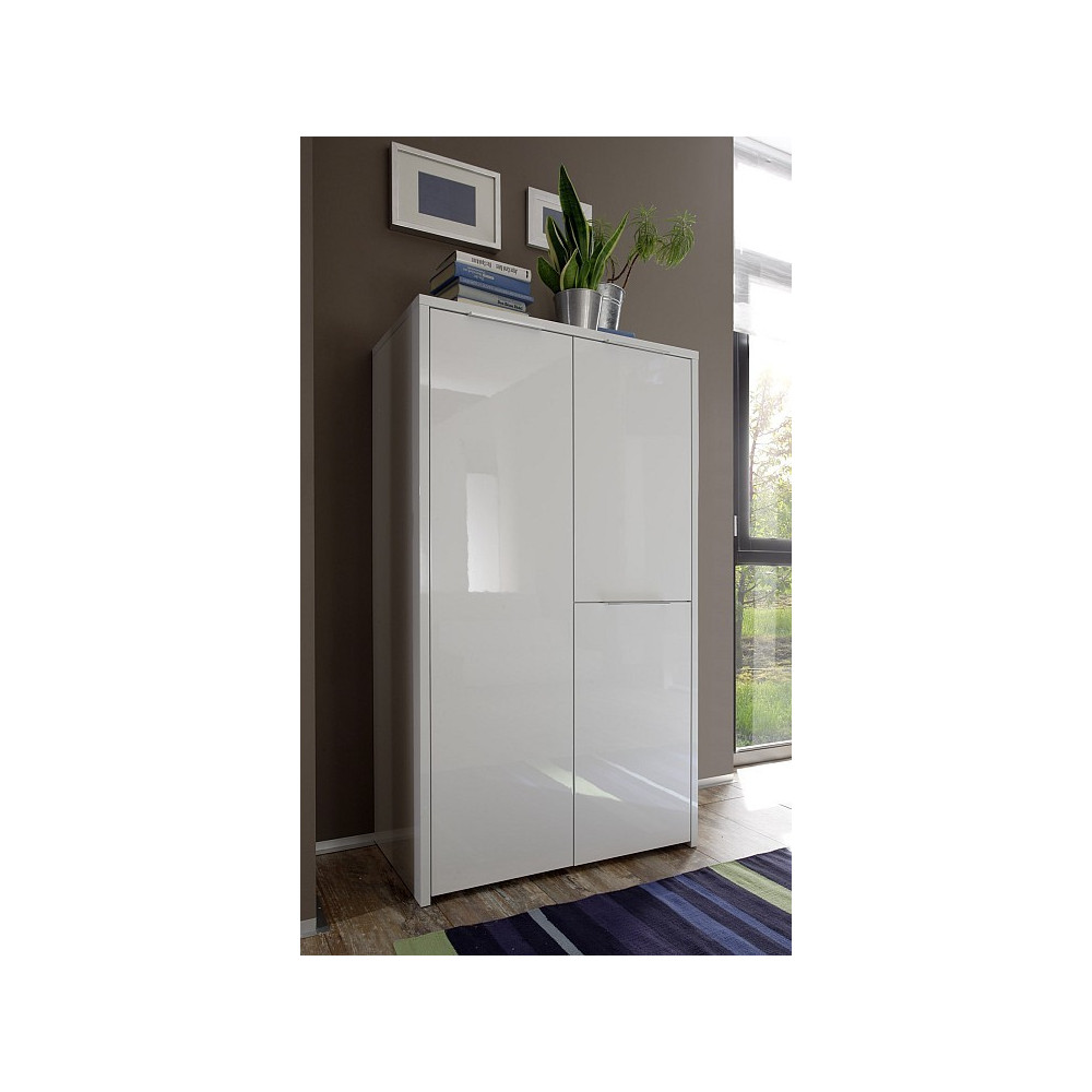 Bahut haut moderne blanc 3 portes 80 cm fabriqu en italie for First chambre complete adulte 140cm laque blanc