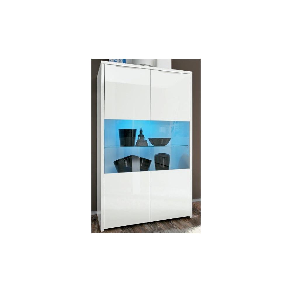 Bahut haut moderne blanc vitrines 2 portes 80 cm - Bahut haut blanc laque ...