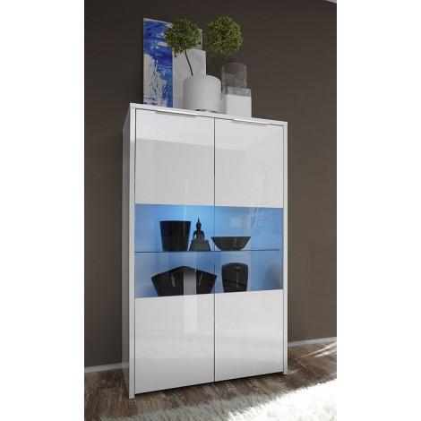 Bahut haut moderne blanc vitrines 2 portes 80 cm for Vetrinetta moderna
