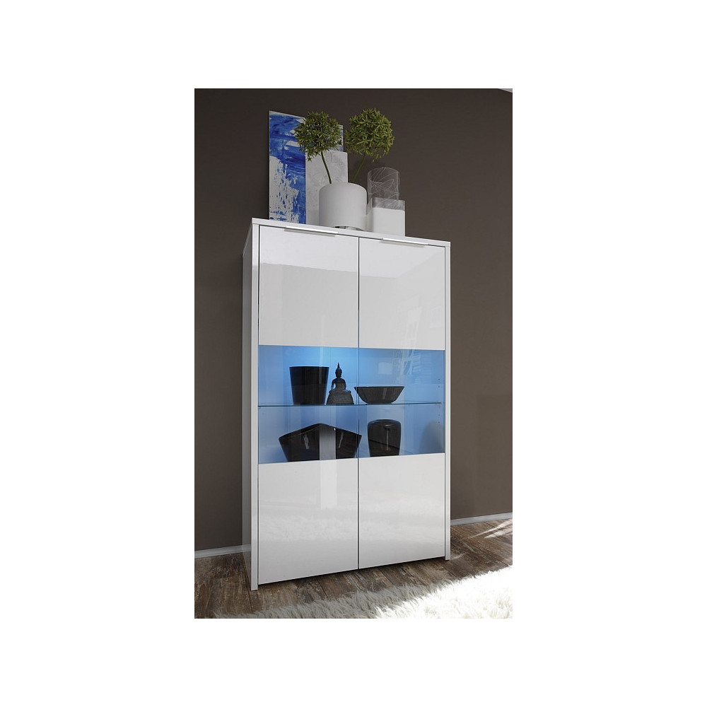 bahut haut moderne blanc vitrines 2 portes 80 cm. Black Bedroom Furniture Sets. Home Design Ideas