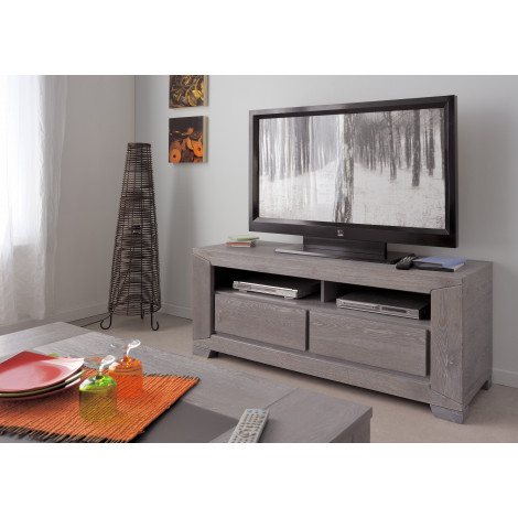Meuble TV EROS teinte chêne grisé