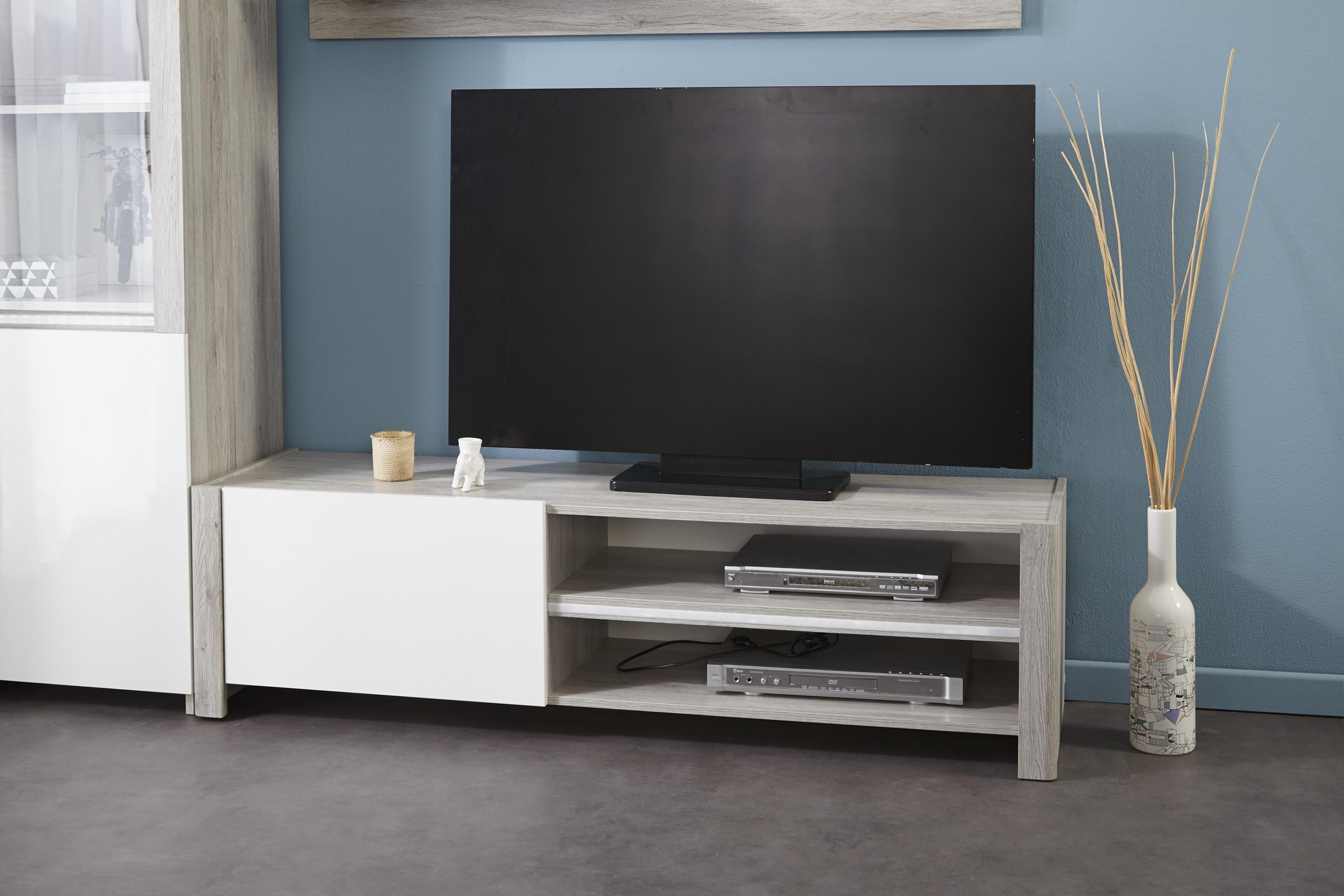 Meuble Tv V Nusia Gris Portofino Et Blanc Brillant Prix Discount # Meuble Tv Gris Blanc