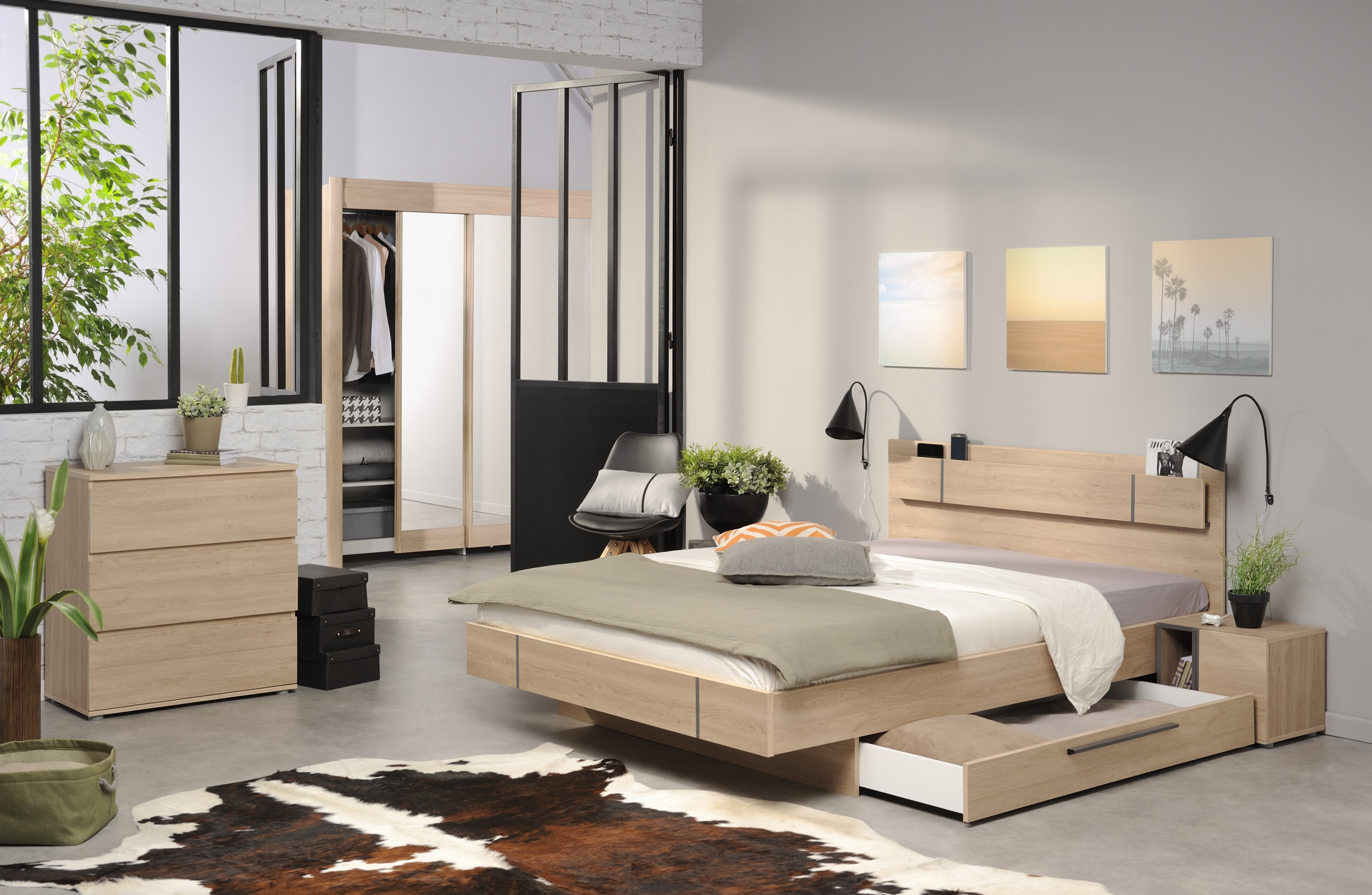 Chambre moderne compl te martina for Meuble chambre parentale