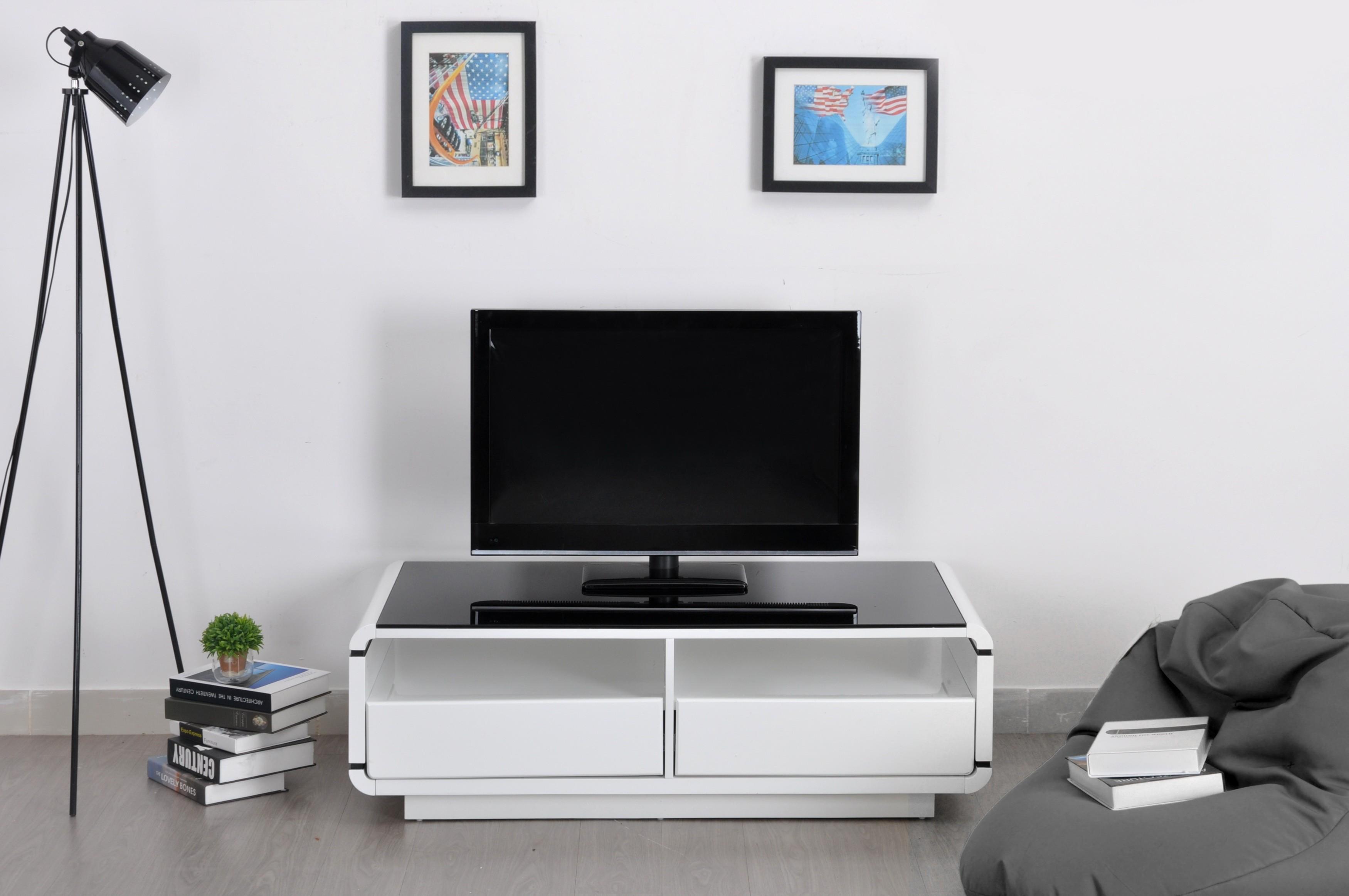 Meuble Tv Lovia Blanc 2 Tiroirs 2 Niches Prix Discount Design # Meuble Tv Blanc