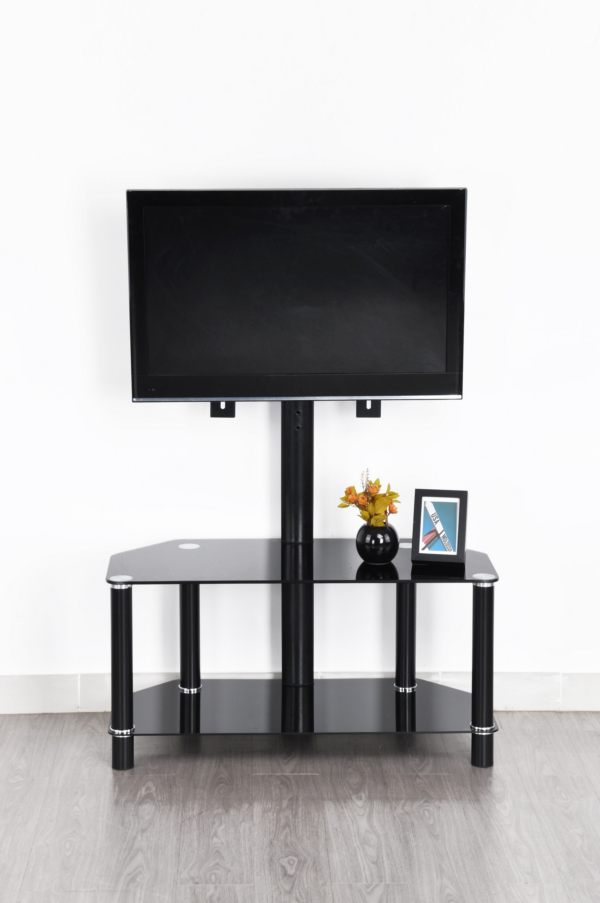 Meuble Tv Esing Noir 2 Plateau 1 Support Tv Prix Discount Design # Meuble Tv Support Integre