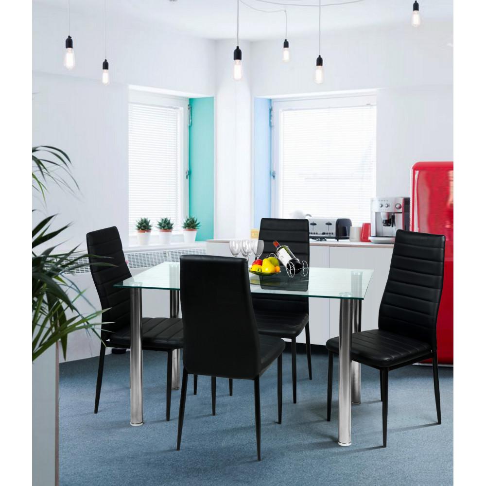 table de salle a manger cristaline verre blanche l 120 cm. Black Bedroom Furniture Sets. Home Design Ideas