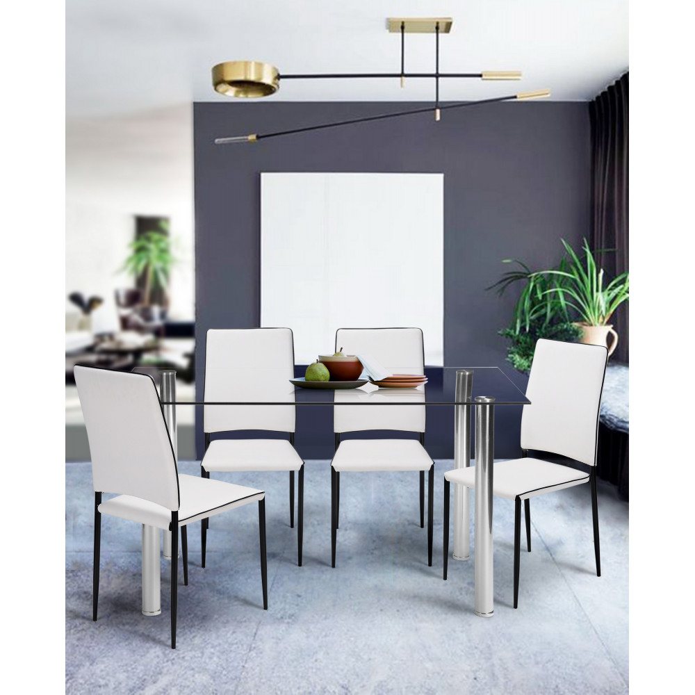 table de salle a manger cristaline verre blanche l 120 cm. Black Bedroom Furniture Sets. Home Design Ideas