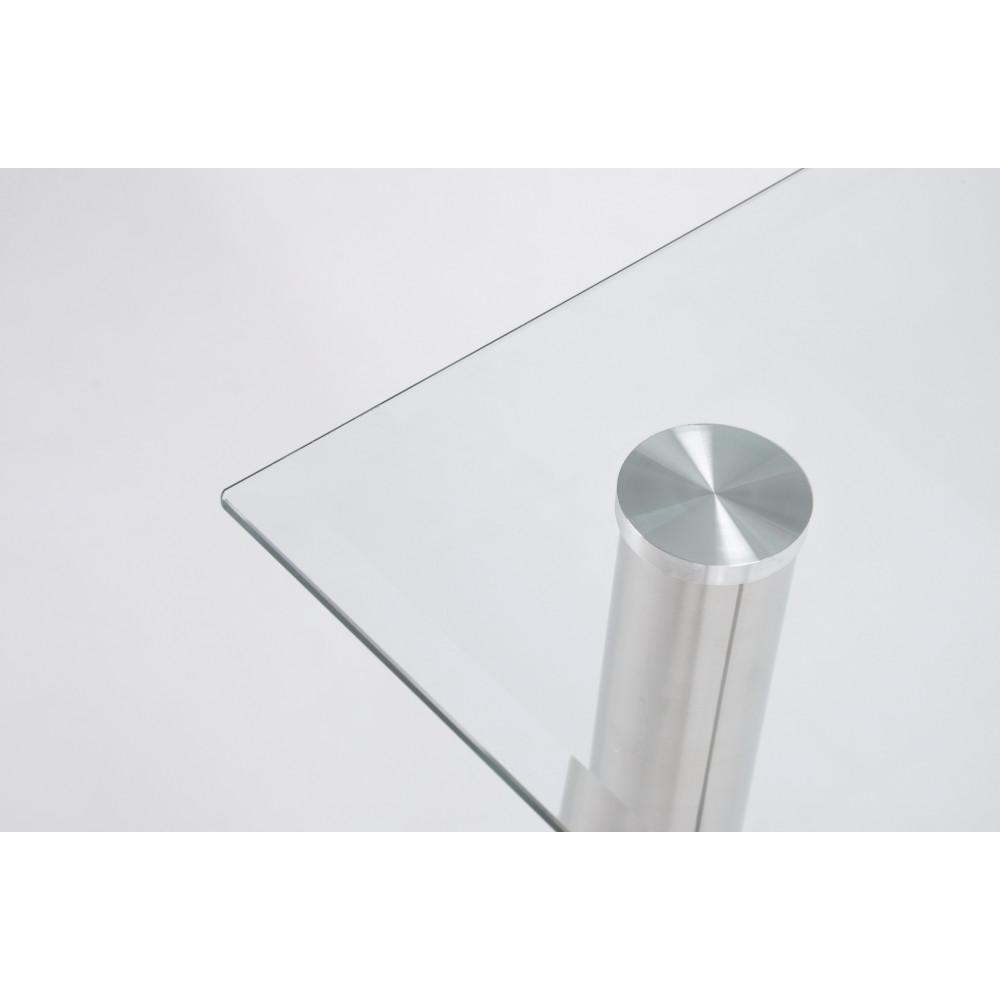 Table de salle a manger cristaline verre blanche l 140 cm for Table salle a manger 250 cm