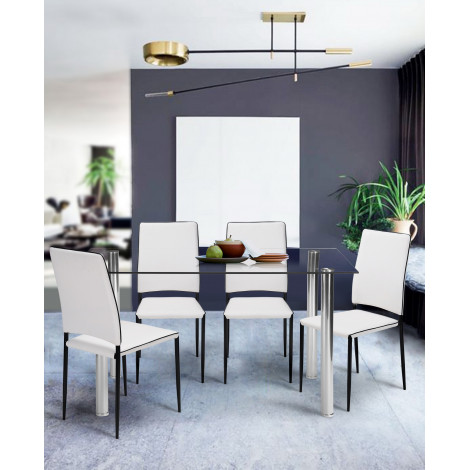 table de salle a manger cristaline verre blanche l 140 cm. Black Bedroom Furniture Sets. Home Design Ideas