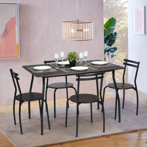 ensemble table et 4 chaises toulouse d cor anthracite et weng. Black Bedroom Furniture Sets. Home Design Ideas