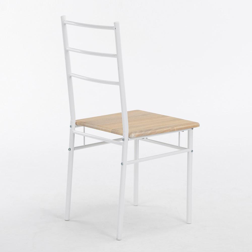Ensemble table et 4 chaises arles d cor blanc et ch ne for Ensemble table et 4 chaises
