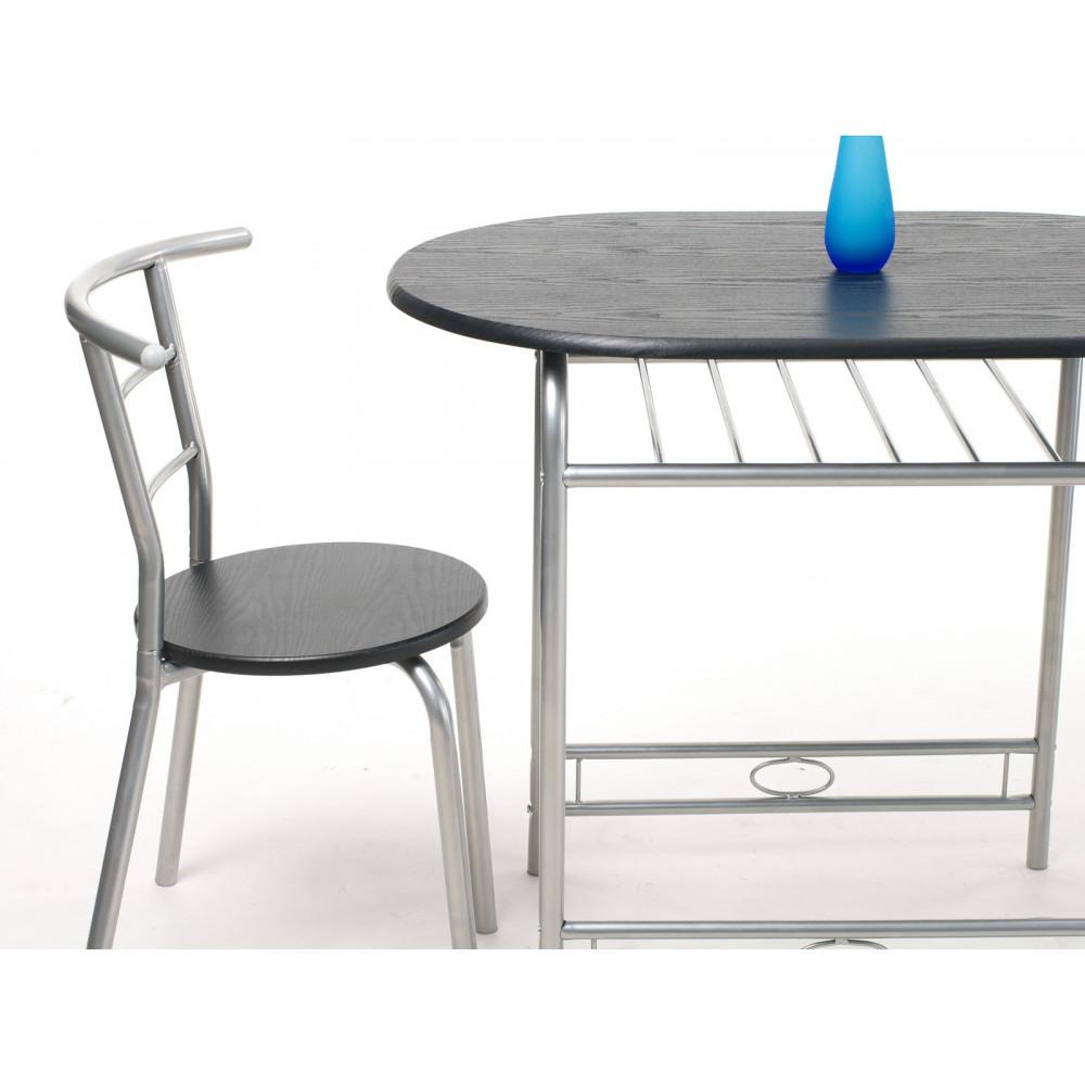 Ensemble table et 4 chaises fidji d cor noir for Ensemble table et buffet